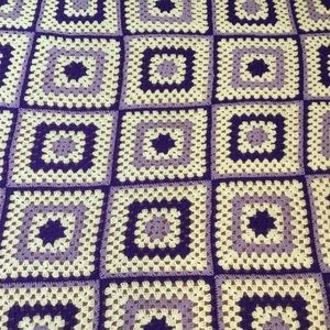 Crochet Granny Square Afghan, Purple and White, Acrylic, 62 inches by 77 inches.